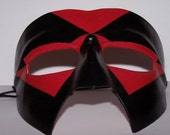 Hand Molded Genuine Leather Red and Black Bat-like Costume Mask