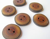"Handmade Wooden Buttons - Buckthorn (6 qty) - 1""  Diameter x 1/8"" Thick"