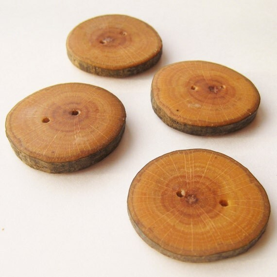 """Handmade Wooden Buttons - Silver Maple (4 qty) - 1 1/2"""" Diameter x 3/16"""" Thick"""