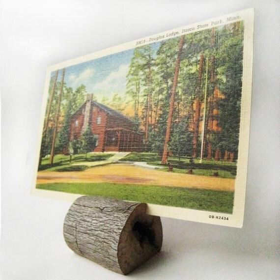 "Handmade Rustic Wooden Wedding Place Card Holder / Picture Holder / Business Card - Oak  1 3/4"""