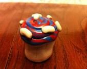 SALE: Red-blue swirl icing Cupcake