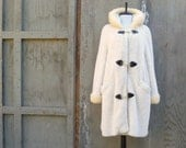 1960s Coat Winter White with Black Hook Closure