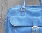 1970s Blue Vegan Leather Overnight Bag