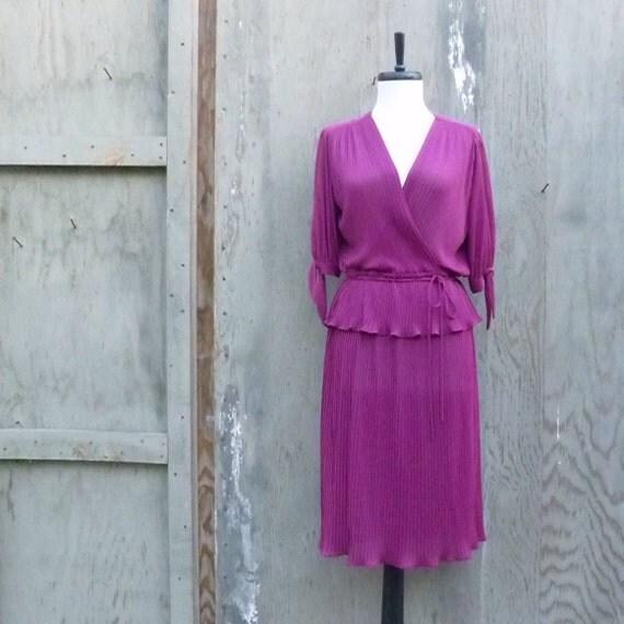 1970s Micro Pleated Dress with Split Sleeve and Peplum