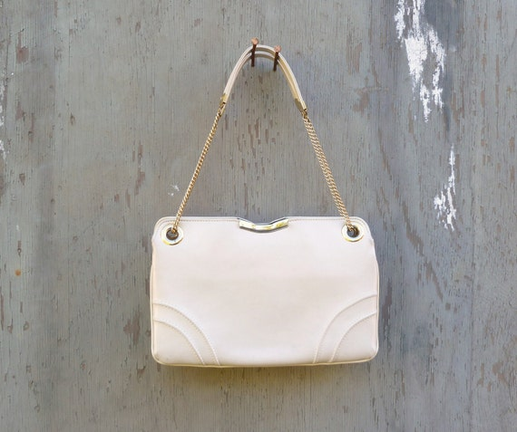 1970s Ivory Bag with Adjustable Strap