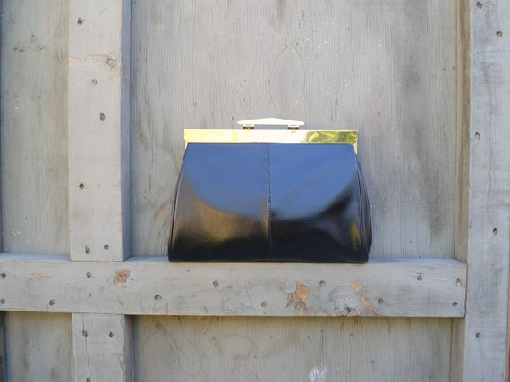 1970s Black Clutch with Gold Chain and Detail