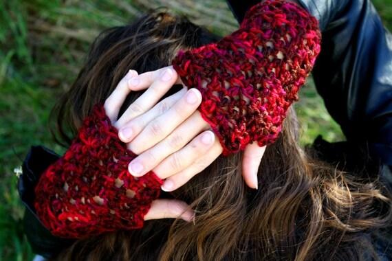 Fingerless PEACH Gloves- Crochet Wrist Warmers- multiple colors available