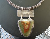 Viking Knit Necklace with Jasper Pendant