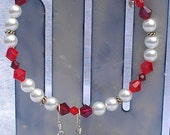 Red Garnet Birthstone 'JANUARY' Snap-On Bracelet & Earrings