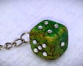 Fancy Green Bling Dice Keychain