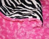 SALE - Custom Large Adult/Teen Size Minky Blanket - Zebra Print Minky Throw - Adult Blanket (70X58) - Color of your choice -