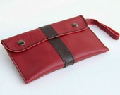 Hand Stitched leather pouch in red  (for iPhone , all mobile phone model)