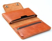 Leather iPhone wallet case in Orange Brown -  with zipper and cards slot(for iPhone4/4s)