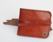 Hand Stitched Brown  Leather Wallet / Billfold with strap