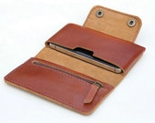 Leather  iPhone wallet case in Tan Brown -  with zipper and card slot(For iPhone4/4s)