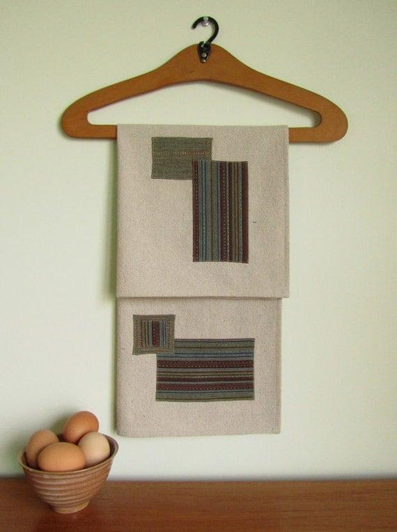 Tea Towel - Hand Stitched Patchwork on Unbleached Cotton
