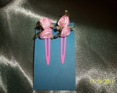 Girls Pink Ribbon Rose Barrette
