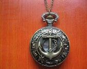 antique bronze anchor pocket watch necklace (gift box package)---P017