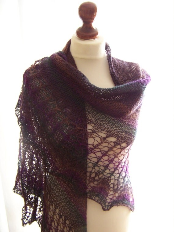 Colorful (violet-green-brown) shawl