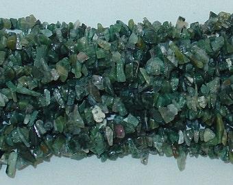 "Moss Agate Chip Gemstone Bead - 34"" Strand"
