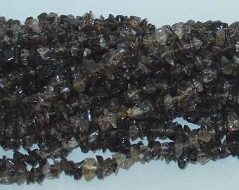 """Smoky Quartz Chip Gemstone Beads - 34"""" Strand"""