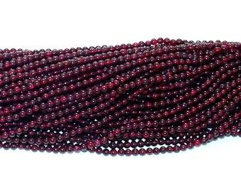 """Garnet 4mm Round Gemstone Beads - 14"""" Strand"""