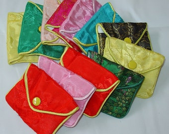 100% Silk Jewelry Pouch Bag with Snap Closure