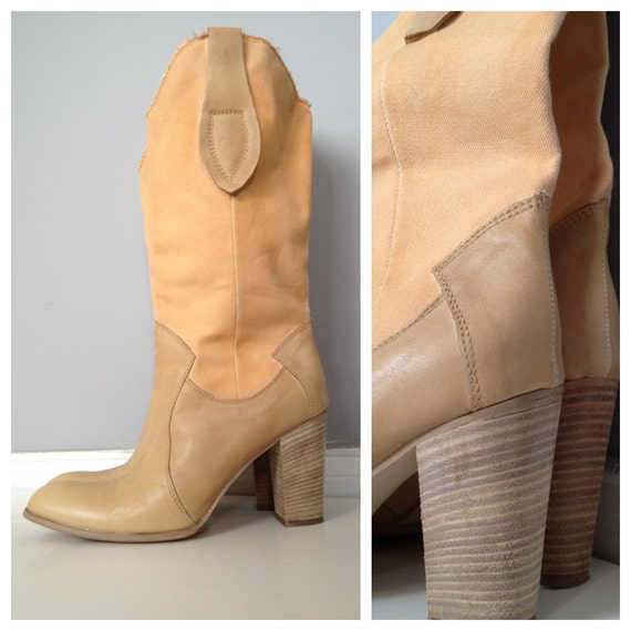1970s peach canvas and natural leather western vintage boots size 8