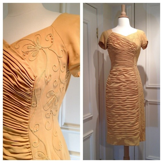 SALE 1960s VINTAGE Cocktail Dress Golden Hand Beaded and Ruched Mustard Du-Rite