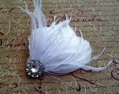 Bridal Feather Hair Piece White Feathers, Rhinestone, Fascinator