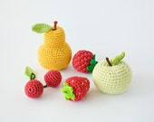 ON SALE this week Crochet Baby Rattles Fruit, Set of 5 - apple, pear, raspberry, srawberry, cherry - ecofriendly crochet toys