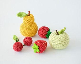 Crochet Baby Rattles Fruit, Set of 5 - apple, pear, raspberry, srawberry, cherry - ecofriendly crochet toys