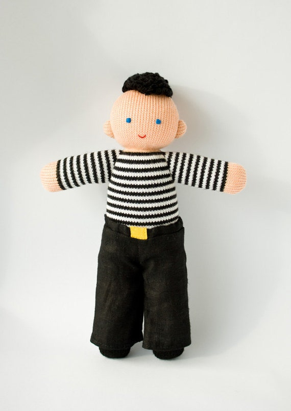 Babywearing Daddy Doll With A Baby Doll Knitted Play Dolls