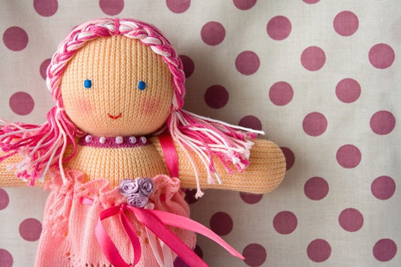 Sweet Dreams Fairy Doll - rose, pink, lilac - knitted waldorf doll, bedding toy, eco-friendly