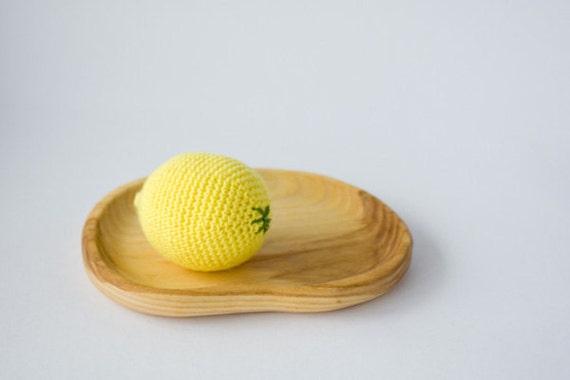 Crochet lemon - kid toy, baby rattle, play food, waldorf, kitchen decoration, eco-friendly toy, FrejaToys