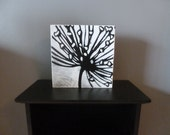 Original Block Art Black and White Dandelion