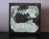 Original Block Art  Bride of Frankenstein Vintage Halloween