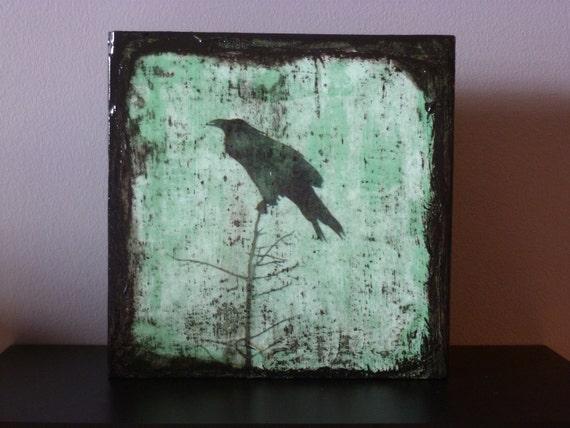 Original Block Art Egar Allan Poe  Raven Halloween