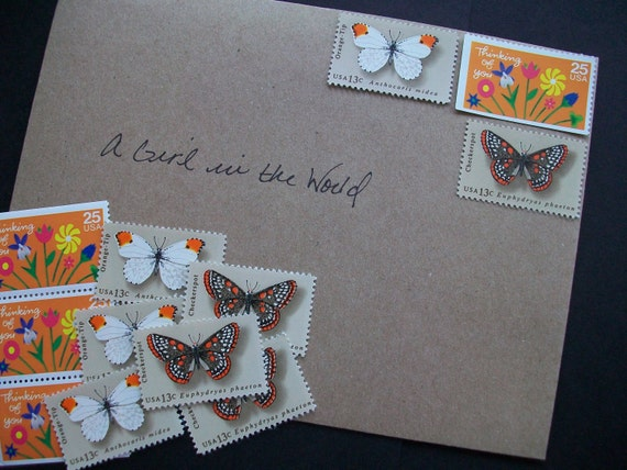 Unused Vintage Postage Stamps - Thinking of You Butterflies