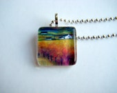 Art Pendant - Print of Original Painting Glass Tile Pendant - Scottish Landscape at Dusk