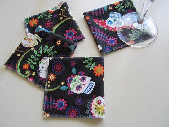 Day of the Dead Cloth Cocktail / Lunch Napkins - Set of 4