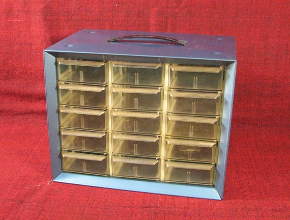 Vintage Small Metal Storage Cabinet with Drawers - blue - industrial chic