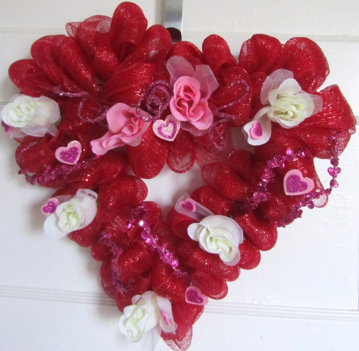 Heart shaped valentines day mesh wreath by handmadecreations4u1