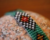 Handmade Woven Beaded Green Tribal Native American Style Bracelet