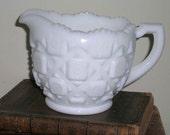 Westmoreland Milk Glass Creamer Old Quilt Pattern Vintage Milk Glass Excellent Condition