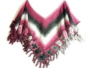 Beautiful Handmade Burgundy/White/Black transitive Crochet Shawl... Warm and stylish...