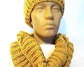 Beautiful hat and cowl...Yellow accessories- slouchy neck warmer... Hat and neckwarmer