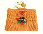 Crochet Flowering Handbag, For Your Ipad, Book, Netbook, Phone, Macbook - Useful mini bag -