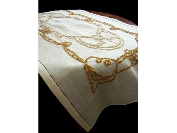 Gorgeous Handmade Runner. Yellow Beads Embroidered On Silk-linen fabric, OOAK