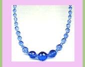 Lovely Vintage Circa 1950s Blue Glass Necklace